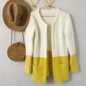 VINTAGE Colorblock Eyelash Mustard Cream Cardigan